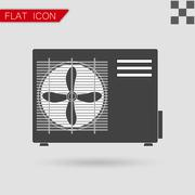 Air conditioner vector Flat Style with red - stock illustration