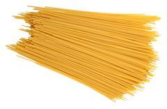 Uncooked Italian pasta spaghetti on a white - stock photo