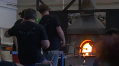 Festival of High Temperatures in Wroclaw Poland People Are Watching Glassworks Stock Footage
