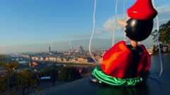 Italy puppet Pinocchio awakes in florence Stock Footage