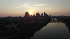 Aerial view of sunset sun setting over Austin, Texas, USA Stock Footage