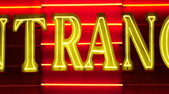 Zoom Out - Neon Casino Entrance Sign - Las Vegas - stock footage