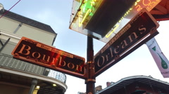Bourbon Street French Quarter New Orleans Louisiana Mardi Gras Stock Footage