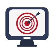 Computer monitor with bullseye Stock Illustration