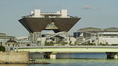 The Big Sight International Exhibition Center in Ariake Stock Footage