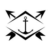 anchor and arrows - stock illustration