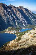 Beaitiful Mountain lake in the summer, Valley of five lakes, Poland, Zakopane - stock photo