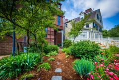 House and gardens in the College Hill neighborhood of Providence, Rhode Islan Stock Photos