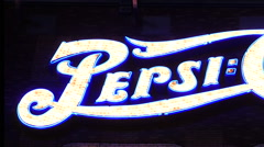 Zoom Out - Retro Neon Pepsi Cola Advertising Sign - Las Vegas - stock footage