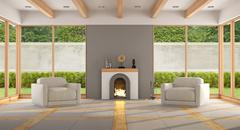 Modern living room with fireplace Piirros