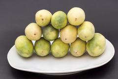 Banana passionfruit (lat. Passiflora tripartita), tumbo, curuba,  taxo - stock photo