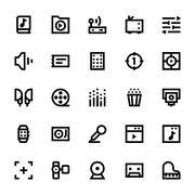 Music, Audio, Video, Cinema and Multimedia Vector Icons Set Stock Illustration
