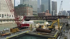 Chicago River Construction time lapse - stock footage