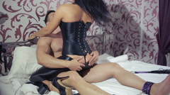 sexy couple handcuffed. sex Toys. BDSM - stock footage