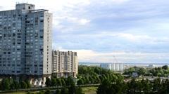 Soviet-era high-rises of Vasilievsky Island, Saint Petersburg , Russia Stock Footage