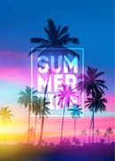 Sunset blurred background with typography text vector. Summer Time poster Stock Illustration