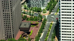 Tokyo - Aerial street view with skyscrapers, traffic and people. 4K resolution Stock Footage