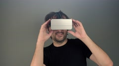 Man with 3d VR goggles enjoying virtual reality Stock Footage