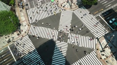 Tokyo aerial view of junction with traffic and people on crosswalk.4K time lapse - stock footage