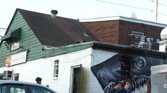 Atlanta Store Shark Mural Stock Footage