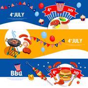 Independence Day Celebration BBQ Banners Set - stock illustration