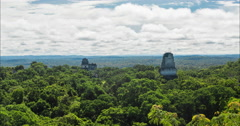 Time Lapse of view of clouds moving over Tikal National Park, Guatemala - stock footage