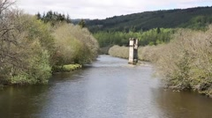 River Oich Fort Augustus Scotland UK with bridge tower Stock Footage