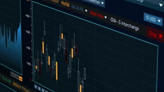 Stock market data fluctuating on candlestick chart, stock indexes falling rising Stock Footage