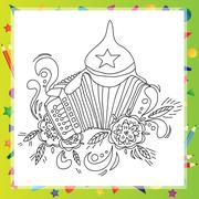 Coloring book for children - musical instruments accordion Stock Illustration