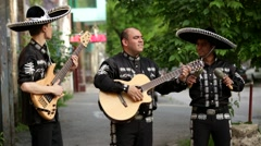 Mexican, Latin American, Spanish. Musicians on the streets. Stock Footage