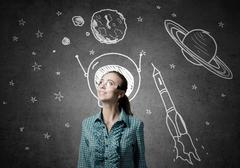 Dreaming to explore space Stock Photos