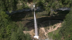 Aerial - Peričnik waterfall dropping deep from a rock - stock footage