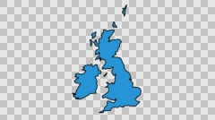 UK Map sketch illustration hand drawn animation transparent Stock Footage