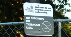 No Smoking - No Tobacco Use Sign - University of Iowa - 4k Stock Footage