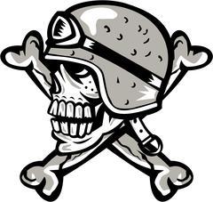 Skull Bones Bike Helmet Side Retro - stock illustration