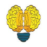 Brain and bulb  icon. Human head design. vector graphic - stock illustration
