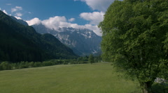 Aerial - Rising above the tree in Logar Valley Stock Footage