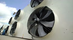 Large industrial fans in a modern plant. shoot with slider Stock Footage