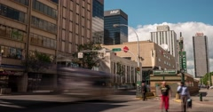 Time-lapse of busy street in downtown Edmonton Alberta Stock Footage