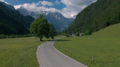 Aerial - Flying above famous road through the Logar Valley, Slovenia Stock Footage