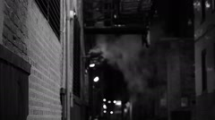 Dark alley in black and white Stock Footage