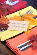 Happy Thanksgiving table place setting - stock photo