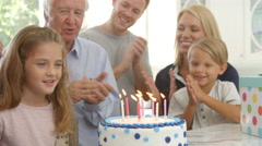 Girl Blows Out Candles On Birthday Cake, Slow Motion Stock Footage