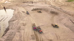 Aerial view of sand quarry Stock Footage