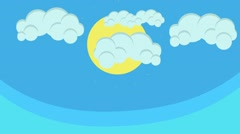 Beautiful Cartoon Sun and Puffy Clouds Hovering in Blue Sky - stock footage
