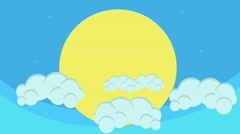 Cartoon Big Sun Behind Puffy Clouds Hovering in Blue Sky - stock footage