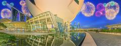 ArtScience Museum and Singapore skyscrapers - stock photo