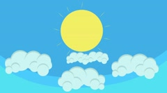 Beautiful Cartoon Sun Above Puffy Clouds - stock footage