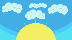 Cartoon Big Sun and Puffy Clouds Hovering in Blue Sky Stock Footage