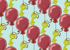 Background with oil-like painted keys hanging on a balloons - stock illustration